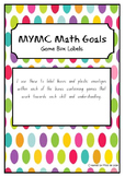 MYMC Math Goals - Math Game Tub Labels