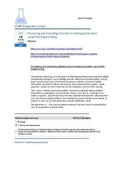 MYP Biology Criterion C Assessment task ( Biotechnology)