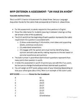 MYP Criterion A Assessment- Un viaje en avión