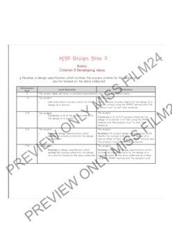 MYP Design Specifications Worksheets