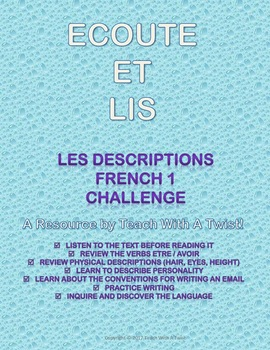MYP French Reading with audio -descriptions physiques et personnalité- inquiry!