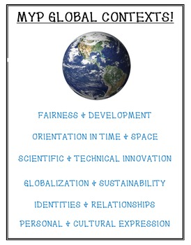 MYP Global Contexts Display, Handout, or Poster