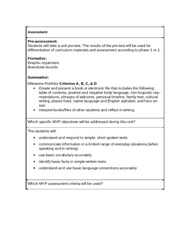 MYP Unit Planner Language B ***NEW Phases 1 & 2 Milestones