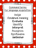 IB MYP command terms for Language Acquisition (Internation