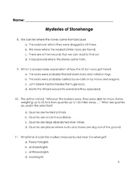 MYSTERIES of STONEHENGE 12 Multiple Choice Make Inferences Locate Details Vocab