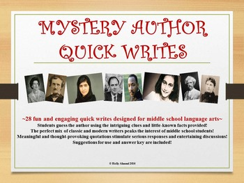 MYSTERY AUTHOR QUICK WRITES, MIDDLE SCHOOL:  Bell Ringers, Minilessons, Journals