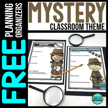 MYSTERY Theme Decor Planner by Clutter Free Classroom