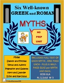 MYTHS - Six Greek and Roman Myths with Complete Text & Qui