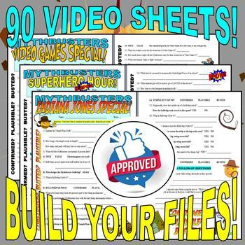 MYTHBUSTERS - MEGA BUNDLE (50 VIDEO WORKSHEETS & MORE!) / FREE UPDATES