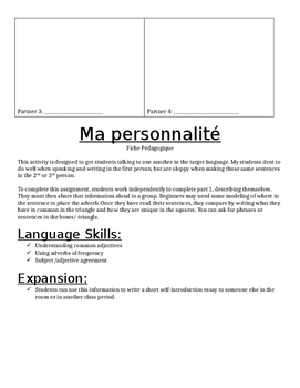 Ma Personnalité Speaking and Writing Activity