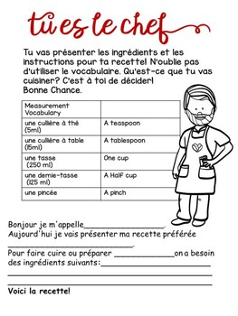 Ma Recette A French Procedural writing activity Ontario Core French