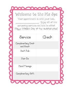 Ma Spa Invitation and Checklist - Mother's Day Activity