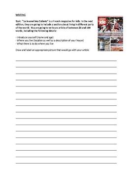 Ma Ville - Writing task