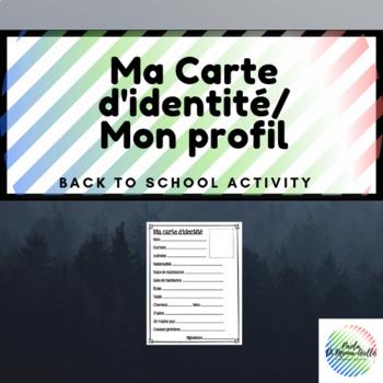 Ma carte d'identité/Mon profil back to school activity