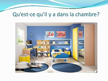 Ma chambre, French, bedroom, il y a expression, colors, prepositions of place