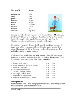 Ma Famille Lecture en Français - My Family Beginner French Reading