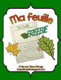 {Ma feuille!} *Freebie* Fall activity for grade 2 French Immersion or Core