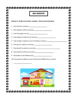 Ma maison, house vocabulary in French, writing and speaking activity