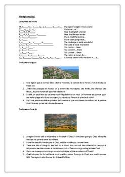 Ma region / La France / La Francophonie / My region / France / Provence