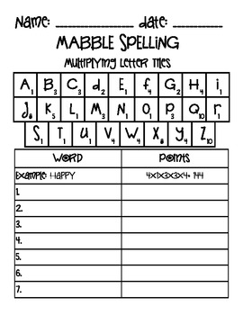 Mabble: Multiplying Letter Tiles for Literacy/Reading Centers
