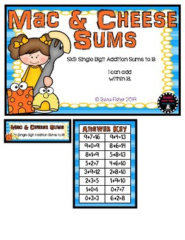 Mac & Cheese Sums Math File Folder Game Single Digit Addition to 18