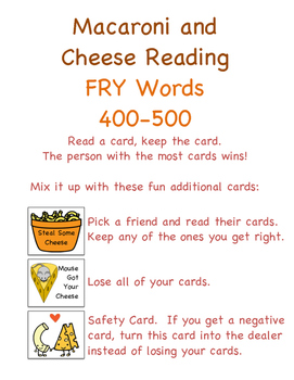 Mac and Cheese Reading (Fry words 401-500)