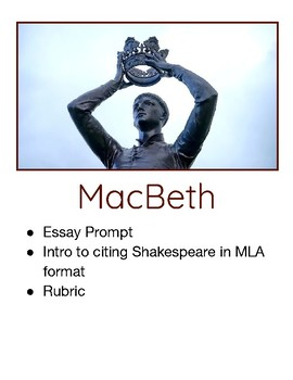 High School Essay Writing  English Model Essays also Essay On High School Experience Macbeth Essay Prompt With How To Cite Shakespeare In Mla Instructions Sample English Essays