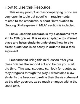 Macbeth Essay Prompt With How To Cite Shakespeare In Mla Instructions