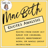 MacBeth Quotes Analysis Organizer
