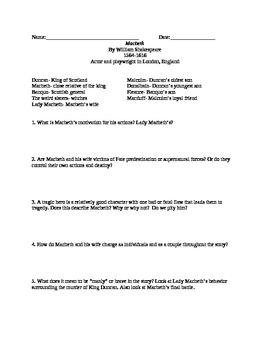 MacBeth for Middle School Lesson Plan & Docs