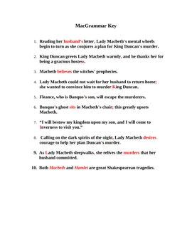 MacGrammar - MACBETH Grammar Worksheet