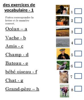 French Children's Farm Story Book plus Vocabulary Worksheets