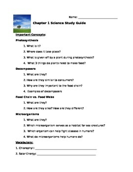 MacMillan McGraw Hill Science Chapter 1 Test Study Guide