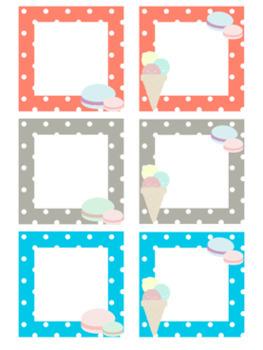 Macaron Dot Kawaii Classroom Labels Sweet Treats Ice Cream Theme