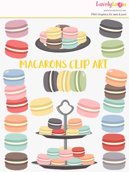 Macaron cookies clipart, baking clip art (LC34)