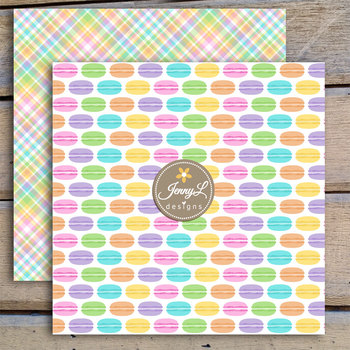 Macaron digital paper and clipart