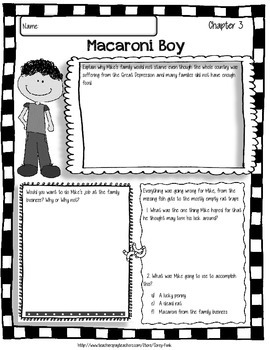 Macaroni Boy Comprehension Guided Reading Packet Chapters 1-4 Reading Guides
