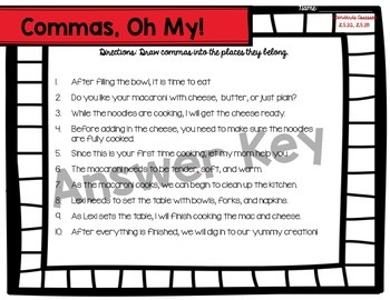 Macaroni Commas: Common Core Activity Set for 4th and 5th