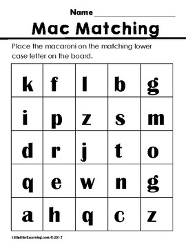 Macaroni Matching Centers Activity