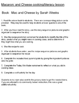 Macaroni and Cheese cooking literacy unit