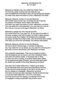 summary of the poem macavity the mystery cat