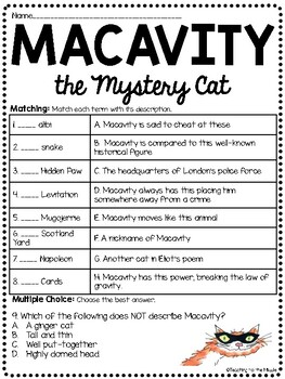 macavity the mystery cat by t s eliot reading comprehension worksheet poetry. Black Bedroom Furniture Sets. Home Design Ideas