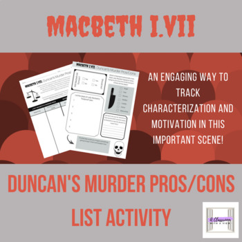 Macbeth 1.7 Duncan's Murder Pros/Cons List Activity