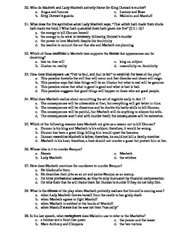 Macbeth 50-Question Matching and Multiple Choice Test