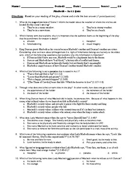 Macbeth 50-Question Multiple Choice Quiz Bundle or Test