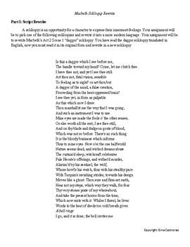 Macbeth A2.S1 Soliloquy Rewrite Project