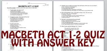 Macbeth Act 1-2 Quiz with Answer Key