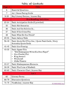 Macbeth Act 1 Lesson Plans / Study Guide