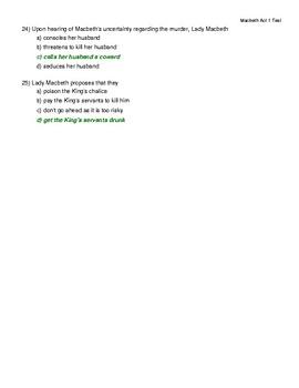 Macbeth Act 1 Quiz Answer key