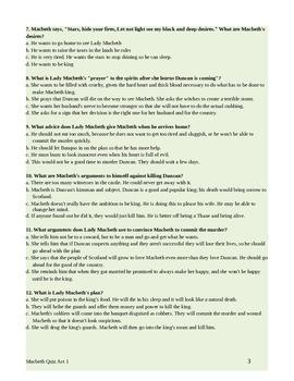 Macbeth Act 1 Quiz with Answer Key